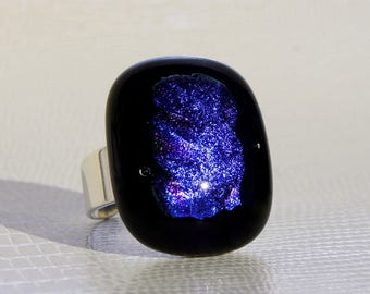 Black glass with iridescent purple glass inlay ring
