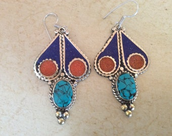 Tribal natural gem stone earrings