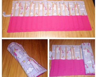 Handmade pencil roll, crayon roll, roll up pencil case, roll up paint brush holder,