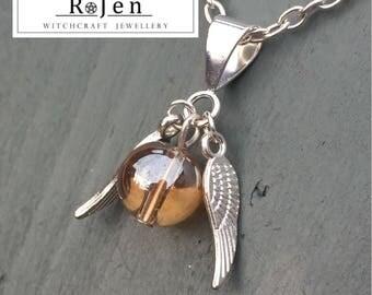 Harry Potter Golden Glass Snitch Pendant & Necklace