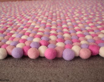 Pink Felt Ball Round Rug Purple Nursery Carpet Handmade 100% Unique Design  Lavender Rose Rug