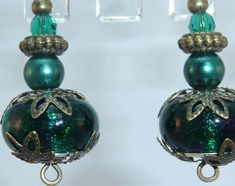 """Emerald"" bronze earrings jewelry"