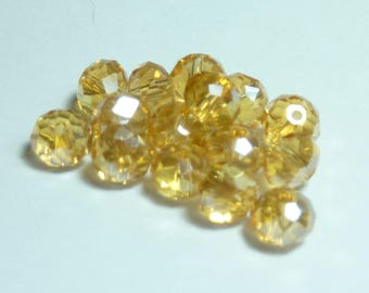 25 beads 4mm Crystal champagne iridescent faceted