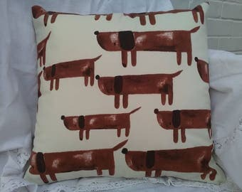 Handmade Cushion Cover Cream with Brown Dachshund Sausage Dogs 18 inch