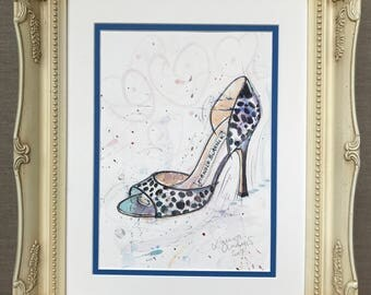 SHOE ART Original PAINTING of Manolo Blahnik shoes - Framed Watercolour