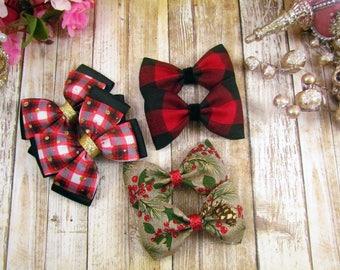 Christmas Bow Bundle / Plaid Bows / Burlap Bows / Buffalo Plaid / Christmas Bows/ Holiday Bows/ Bow Sets / The Bow Bundle/Holiday Collection