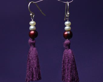 Pearl and Tassel Dangle Earrings