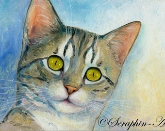 Tabby Cat Original Oil Painting
