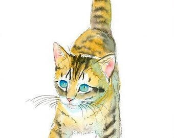 Kitten Original Watercolor Painting