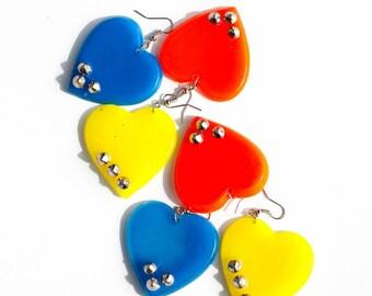 80s neon earrings heart earrings acrylic neon heart earrings handmade earrings punk earrings 80s earrings 80s party 80s punk studded