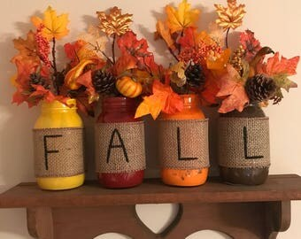 Painted fall jars