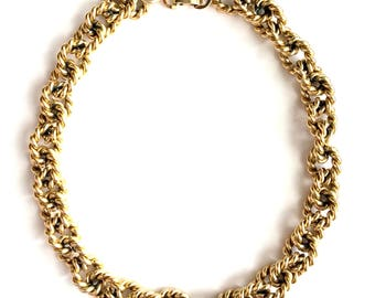 Vintage 80's Gold Tone Made in France Rope Link Choker Necklace