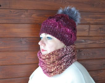 Gift Set Hat+Scarf With Real Fur. Blend Hat And Scarf With Real Fur. Wool hat. Fur pom pom hat. Knit hat women. Women Hat.