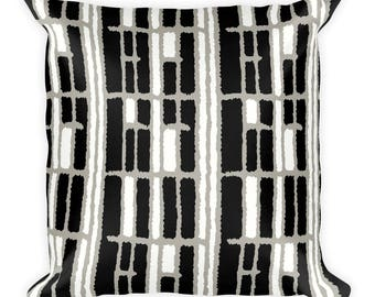 Graphic Square Cushion Cover, Black and White Geometric Pattern, Modern Accent Pillow, Throw Pillow, Size 18x18 inches