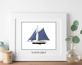 Nantucket Travel Art Print - Whaling Ship