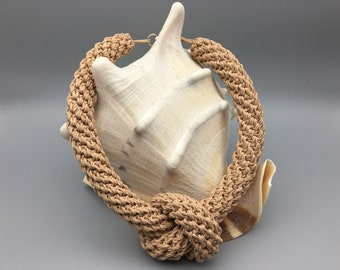 Beige rope necklace Nautical cord jewelry Fiber large chic necklace Chunky statement accessory Macrame necklace choker Mother day present