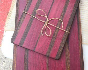 Hand-made sandwich/cheese board and matching sandwich board with Purple Heart and zebra woods