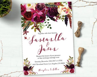 Printable Floral Boho Wedding Invitation Suite, Boho Wedding Invite, Floral Wedding Invite, Watercolor Wedding Invite, Digital Custom invite