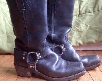 Vintage Frye Harness 12R Boots, Women's Frye Boots, Biker Boots, Size 10