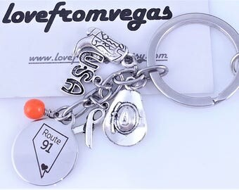 ROUTE91, Nevada Map KeyChain Ring W/ Stainless Steel Charm, Country Strong Charms, Proceeds for Survivors, VegasStrong,Shipped from LasVegas