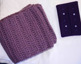 Plum Yarn Handmade Knitted Crocheted Scarf and Dark Purple Felt Portable Tissue Pouch, luxurious, elegant, gift