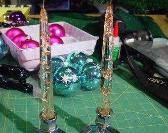 Chrome Candle Base Pair of Mid Century Gold Flecked Acrylic Candles Candlesticks Hollywood Regency