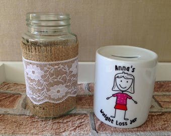 Personalised weight loss money box