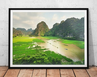 Vietnam River Valley Photo // Mountain Landscape Photography Print, Asia Travel Wall Art, Beautiful Nature Photograph, Ninh Binh Home Decor