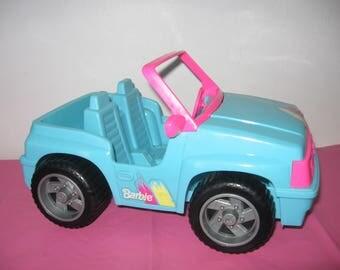 Barbie Blue & Pink Jeep - 1994 Barbie 4 x 4 Aqua Blue And Pink Jeep - Vintage Blue And Pink Barbie Jeep