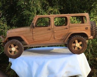 Hand made wood Jeep