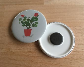 Geranium Fridge Magnet, Floral Gift, Flower Lover Gift, Floral Fridge Magnet, Floral Magnet, Illustrated Gifts, Geranium, Fridge Magnets