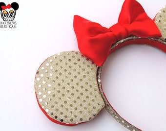 Gold Sequins Christmas Mouse Ears  || Chirstmas Disney Ears || Christmas Mickey Ears || Christmas Ears