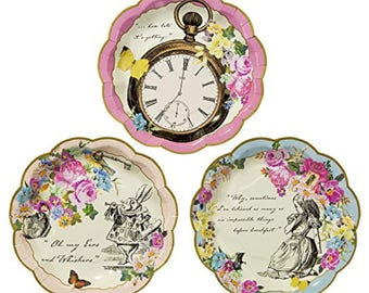 12 Truly Alice In Wonderland Paper Plates / Vintage Style Tea Party / Mad Hatters Tea Party