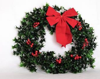 Outdoor Holly Wreath & Door Hanger