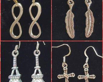 Earrings with Tibetan silver pendants infinity-feather-cross-Eiffel Tower