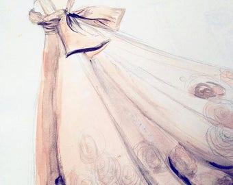 Wedding Dress Portrait Custom Personalised Illustration Art