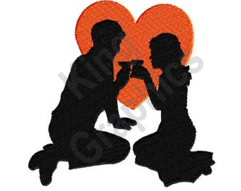 Lovers - Machine Embroidery Design, Couple, Date