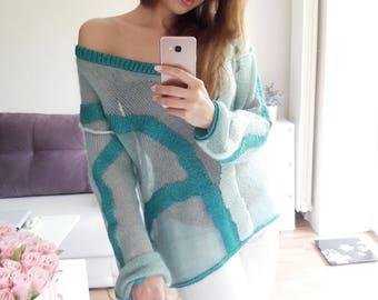 Sweater from kid mahair and silk (handmade knitwear)