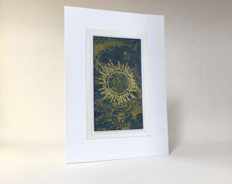 Birthday card: gold sun embossed on hand-painted paper, individually made, A6, SKU BRA61002
