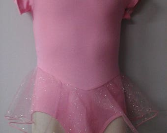 Girls Sizes 2-16 Lined Leotard, Pink w/Attached Single Layer Skirt Brand New Professionally Made