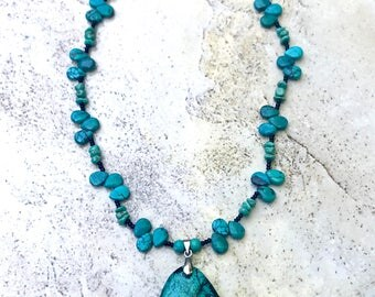 100% Handmade Turquoise stone pendant necklace - Gemstone turquoise necklace - turquoise pendant necklace
