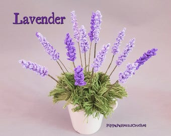 Lavender Flower Crochet Pattern Purple Garden House Plant Home Decor and Floral Arrangements