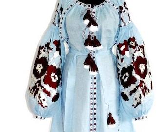 Vyshyvanka Dress Custom Boho Dresses Ukrainian Embroidery Embroidered Bohemian Clothing Vishivanka Kaftan Dubai Abaya Dress