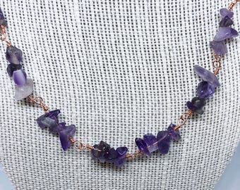 Love-Spirituality-Connection Wire Wrapped Amethyst Necklace