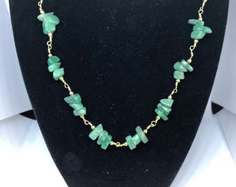 Soothing-Balancing-Comforting Green Aventurine Wire Wrapped Necklace