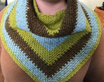 Green, blue, and brown triangle scarf