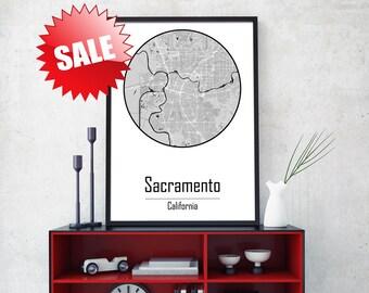 SACRAMENTO CITY, Sacramento print, Sacramento wall art, Sacramento ca, Sacramento decor, California Canvas, California poster, Canvas Map