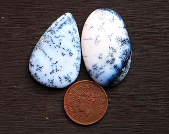 2pcs 108cts. 45x28mm 100% natural beautiful dendrite opal smooth hand polish cabochons jewelry & wire wrapped pendant making gemstone SKU213
