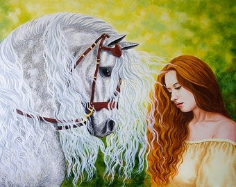 Horse and girl with red hair