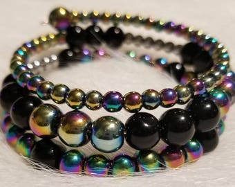 black and rainbow Hemalyke beaded Bracelet